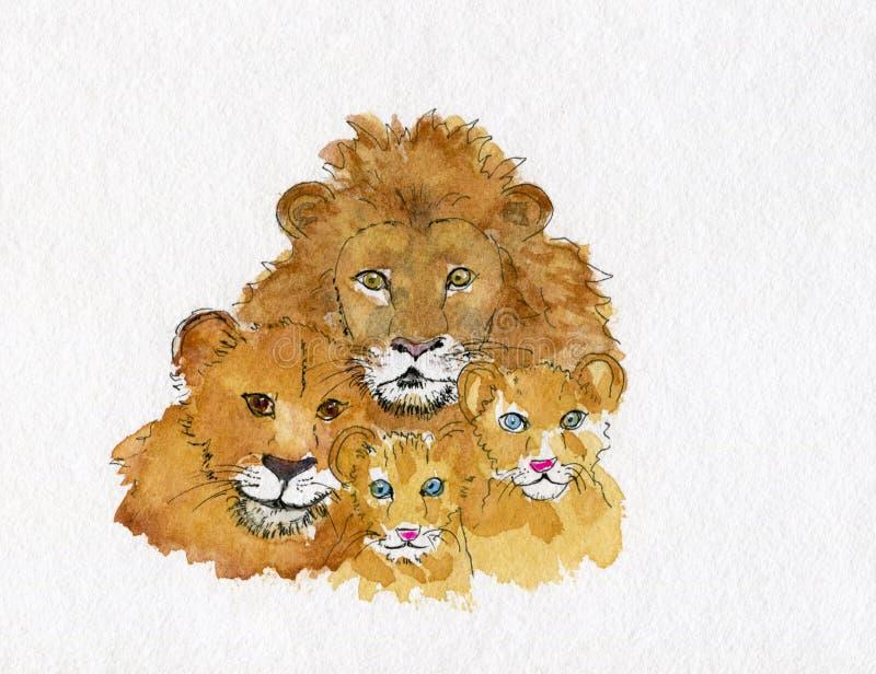 Watercolour van een familie van leeuwen, moeder, vader en twee leeuwcu royalty-vrije illustratie