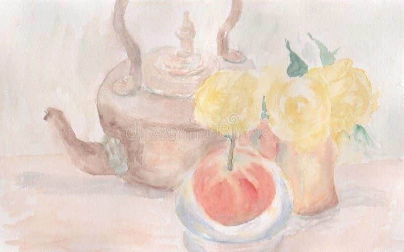 Watercolour wciąż życie z miedzianym czajnikiem, kwiatami i jabłkiem, royalty ilustracja