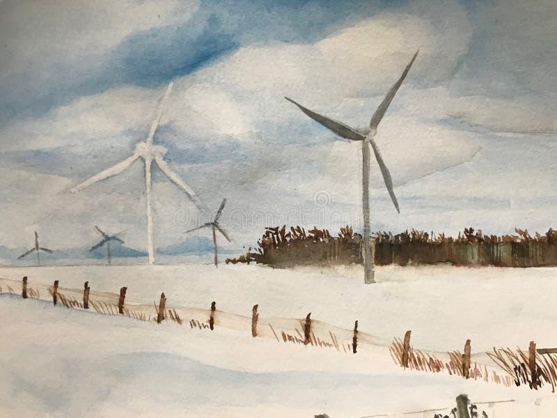 Watercolour wiatraczki w Ontario winterscape ilustracja wektor