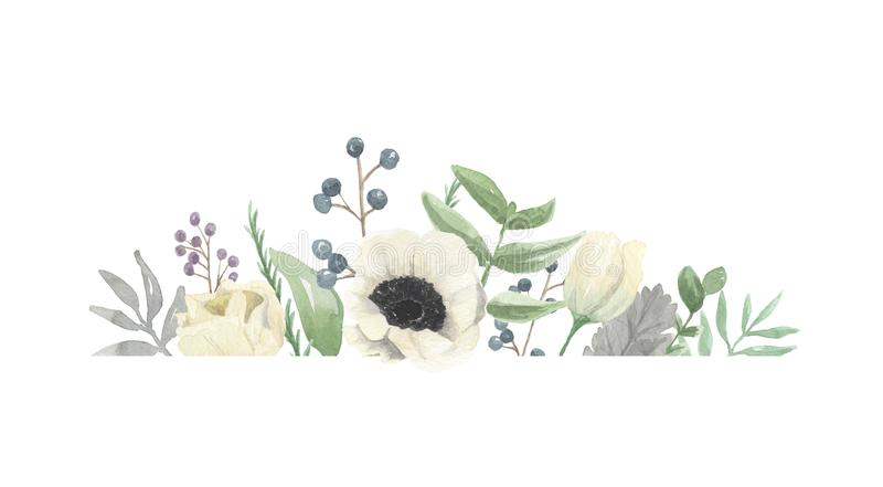Watercolour-Winter-Blumen-handgemalter Fall Autumn Berries Frame lizenzfreie abbildung