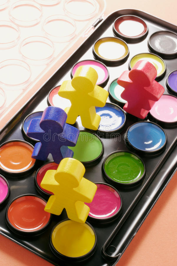 Download Watercolour And Wooden Figures Stock Image - Image: 21675541