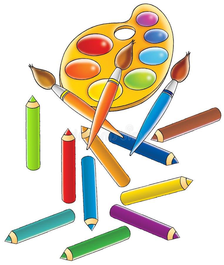 Watercolour y pensils stock de ilustración