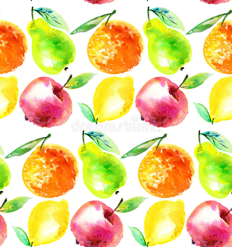 Watercolourappel en oranje citrusvruchtenillustratie royalty-vrije illustratie