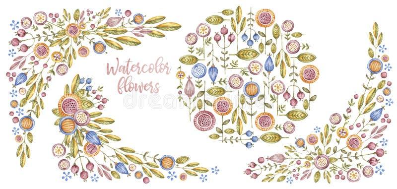 Watercolourbloemen en grenzen, het ontwerp van de kaartdekking vector illustratie