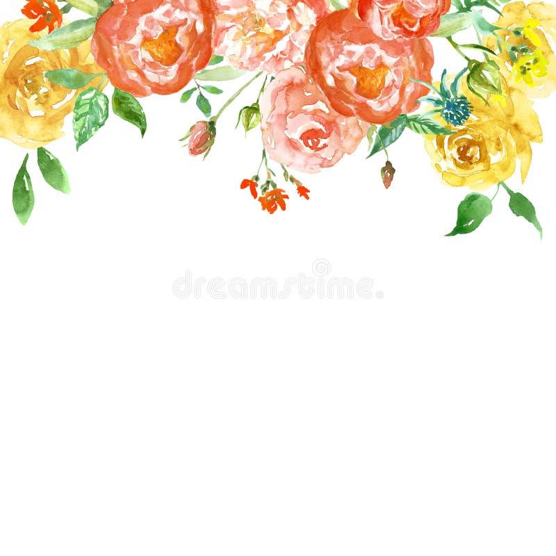 Watercoloured春天花卉框架与脸红桃红色和黄色花 与玫瑰和牡丹的手画精美边界 库存例证