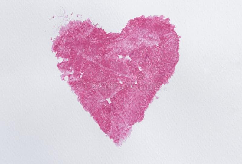 Watercolourhintergrund, abstrakte rosa Aquarellfarbe in der Herzform lizenzfreies stockfoto
