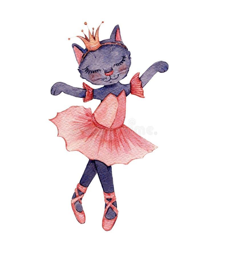 Watercolourillustratie van een leuke ballerinakat die een kroon dragen vector illustratie