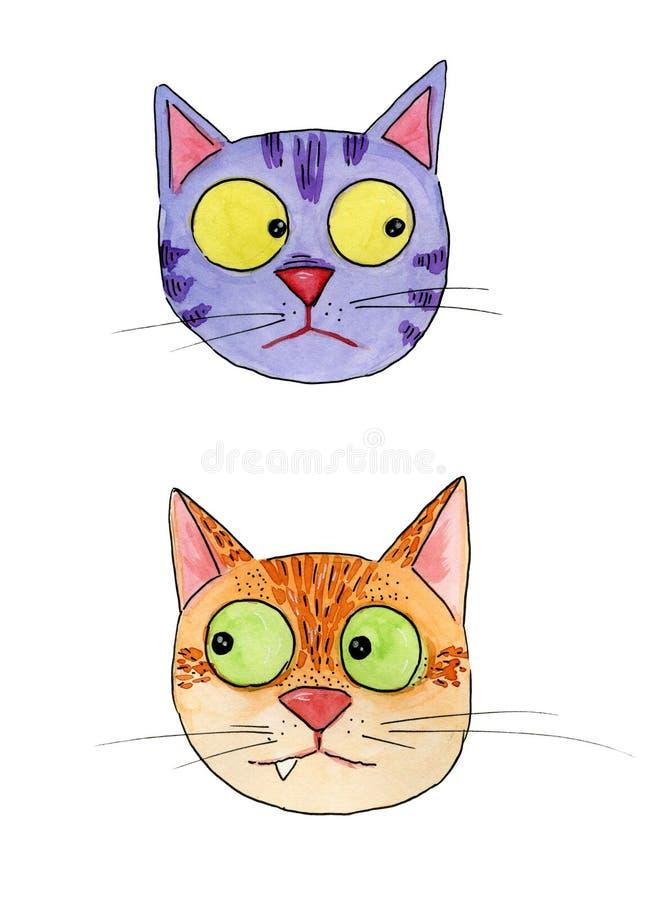 Watercolourillustratie van twee grappige katten met reusachtige ogen stock illustratie