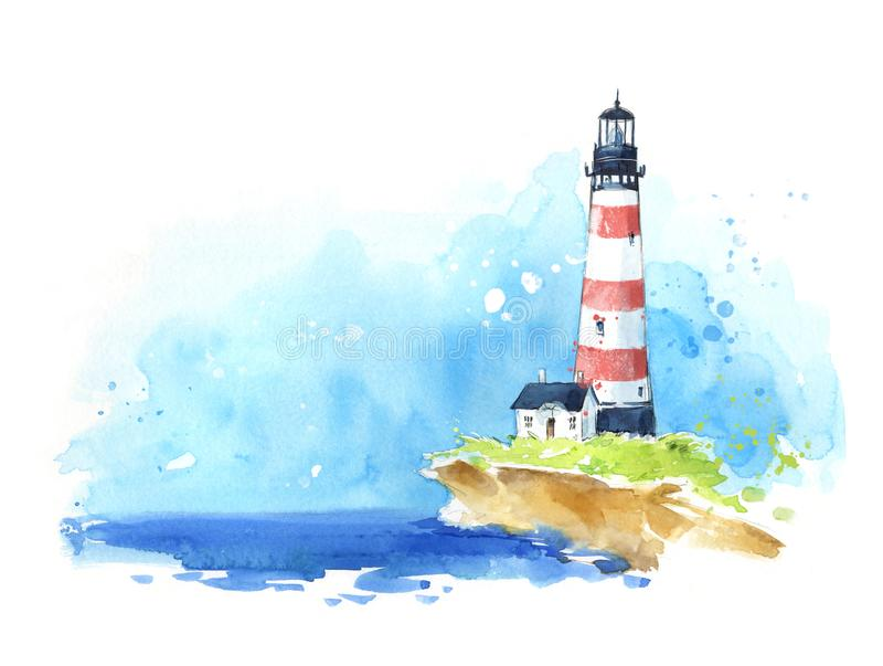 Watercolourschets van een vuurtoren bij de kust, zeegezicht royalty-vrije illustratie