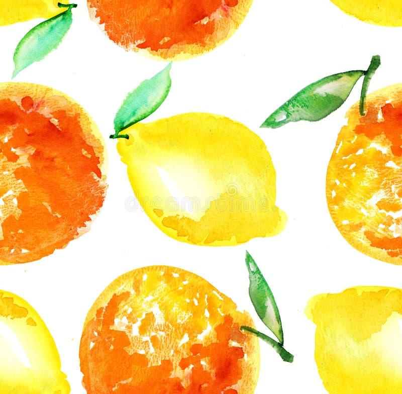 Watercoloursinaasappel en de illustratie van het citroenfruit stock illustratie
