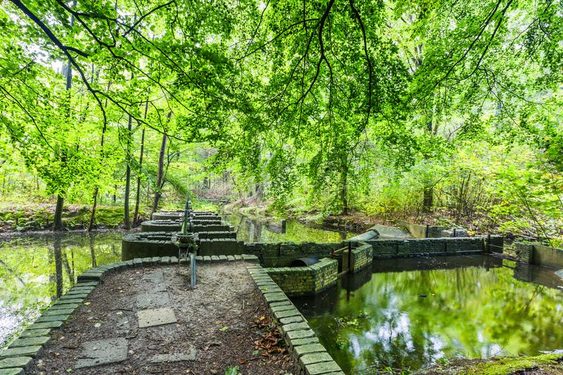 Experimental hydraulic engineering installations in the Waterloopbos. Watercourses with remnants of hydraulic experimental installations in the Waterloopbos in royalty free stock images