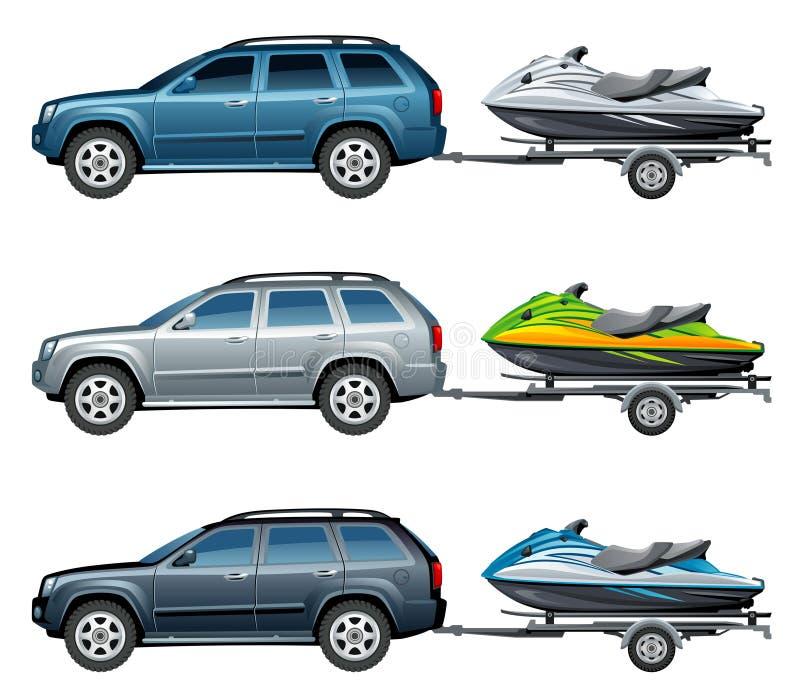 Watercraft. SUV towing a trailer jetski royalty free illustration