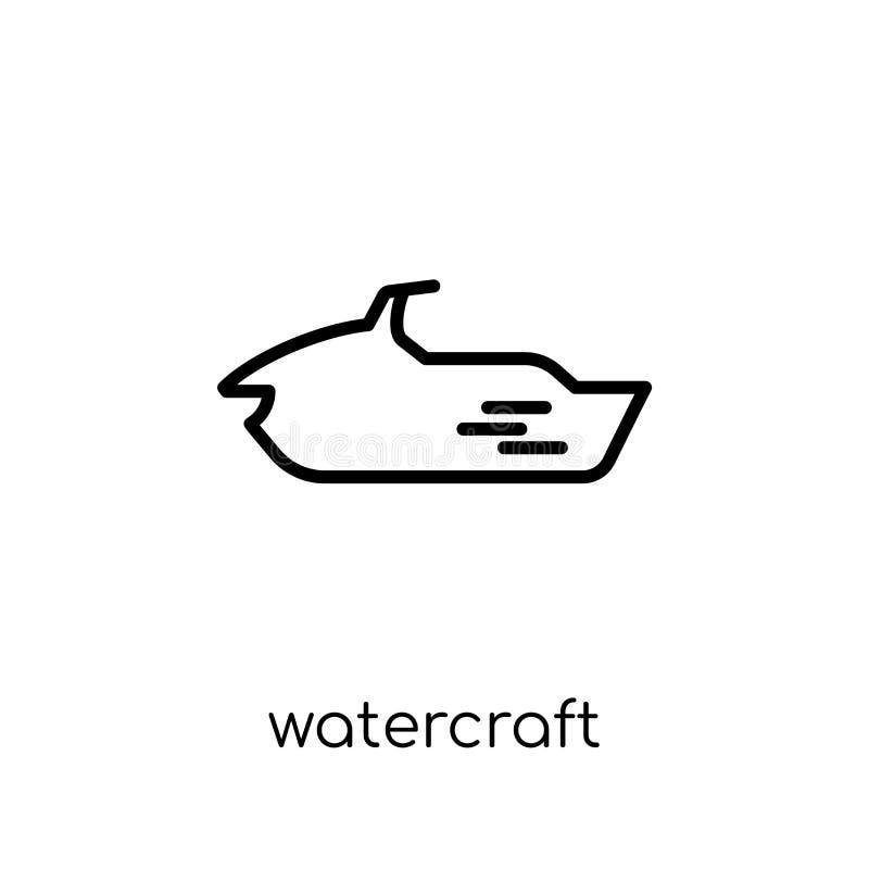 watercraftsymbol Moderiktig modern plan linjär vektorwatercraftico royaltyfri illustrationer