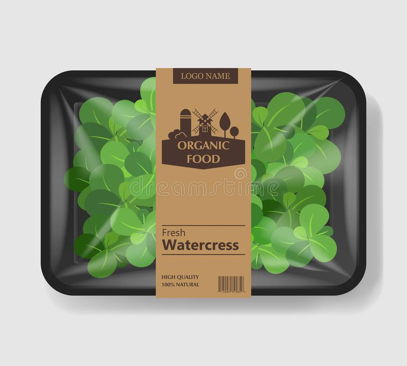Watercress salad leaves with plastic tray container with cellophane cover. Retro design. Mockup template for your salad. Design. Plastic food container. Vector vector illustration
