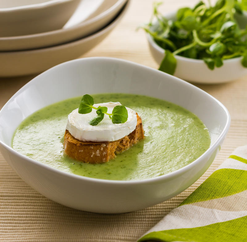 Watercress soup. A bowl of watercress soup, garnished with toast and goat cheese stock photography