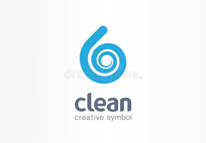 Waterdaling, concept van het aqua het creatieve symbool Schone golf, verse drank, blauw van het bedrijfs ecoproduct abstract embl royalty-vrije illustratie