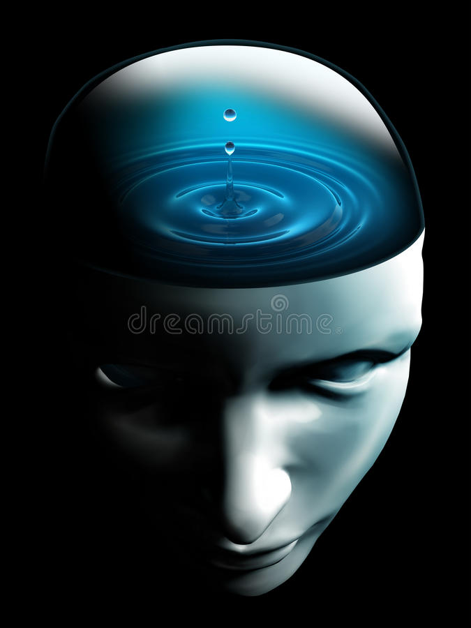Waterdaling op menselijk hoofd conceptueel beeld royalty-vrije stock foto's