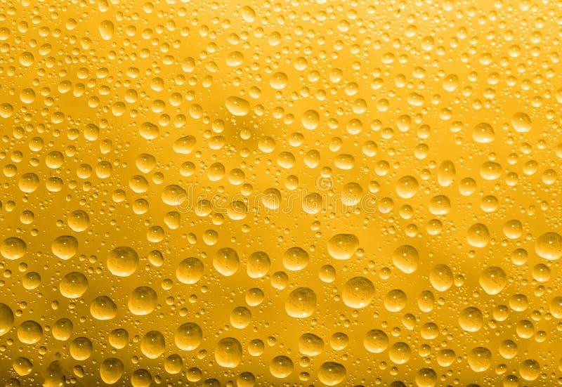 Waterdalingen op een gouden achtergrond Macro stock fotografie