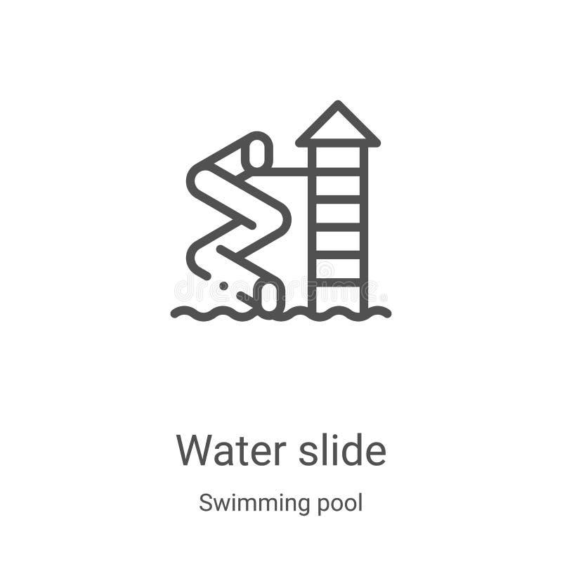 waterdiepictogram van de inzameling van de zwembad De dunne vectorillustratie van het het overzichtspictogram van de dia van het  stock illustratie