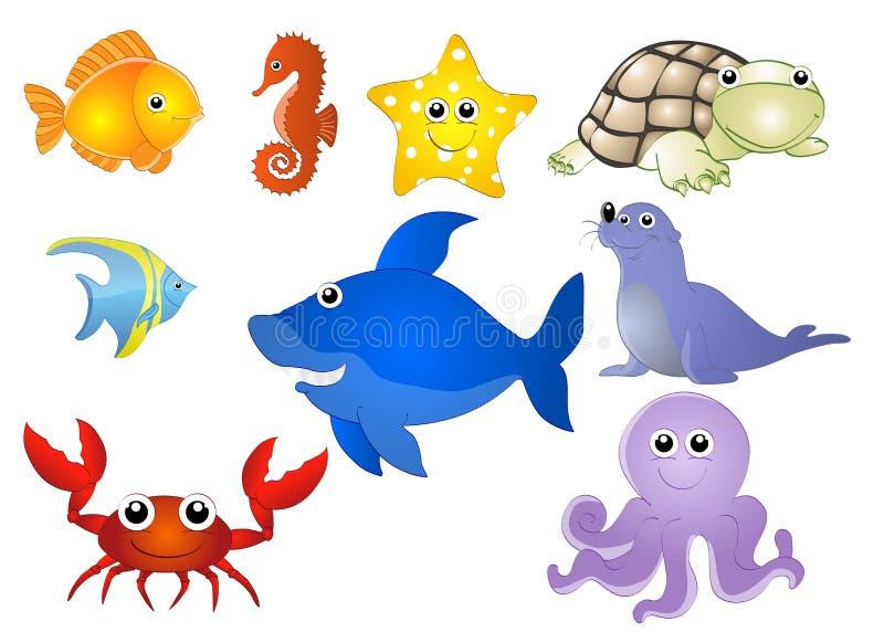 Waterdieren royalty-vrije illustratie