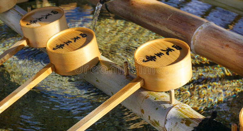 Waterdippers in Todaiji in Nara, Japan royalty-vrije stock foto