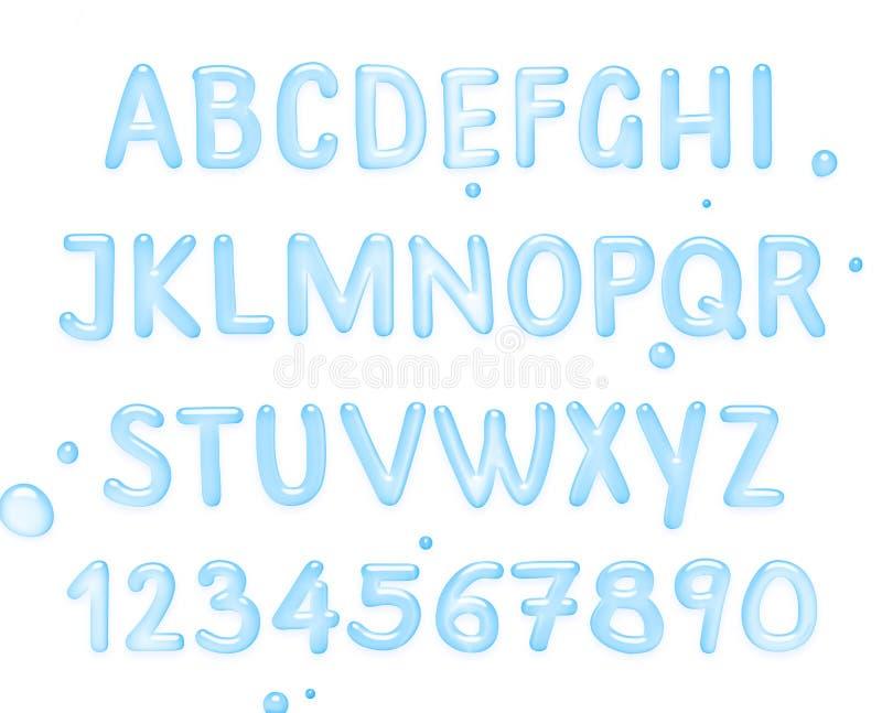 Waterdoopvont Latijns die alfabet van water wordt gemaakt vector illustratie
