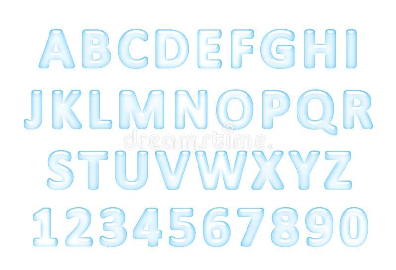 Waterdoopvont Latijns die alfabet van water wordt gemaakt royalty-vrije illustratie