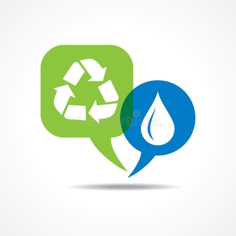 Waterdrop和回收在消息泡影的象 库存例证