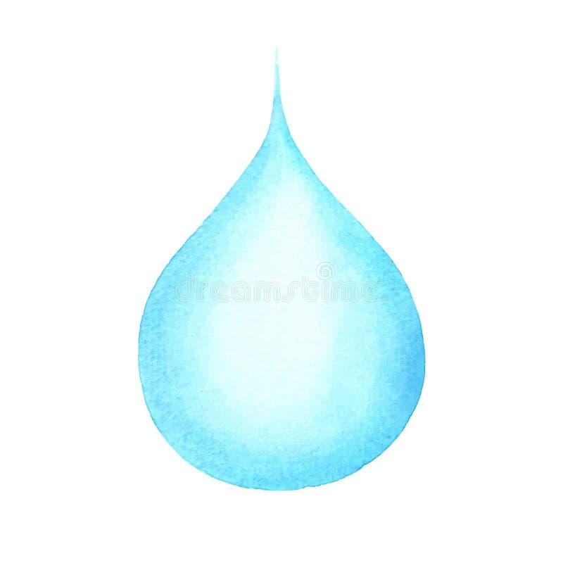 Waterdrop, голубое падение воды изолированное на белизне, дождевой капле иллюстрация штока
