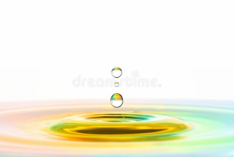 Waterdrop bildande i tropiska färger royaltyfri bild