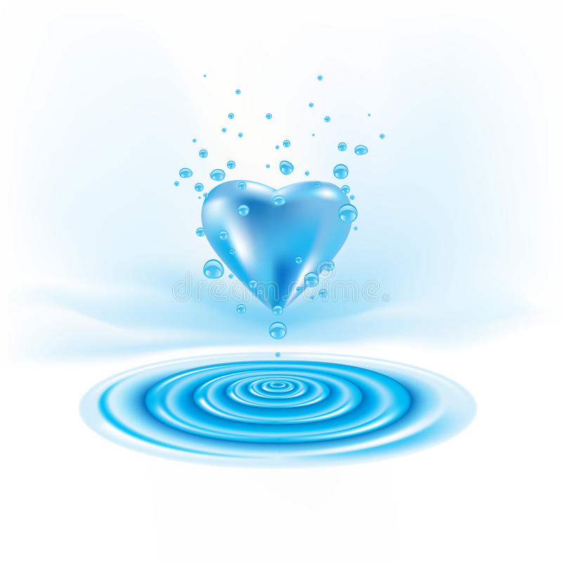 Waterdrop et coeur illustration libre de droits