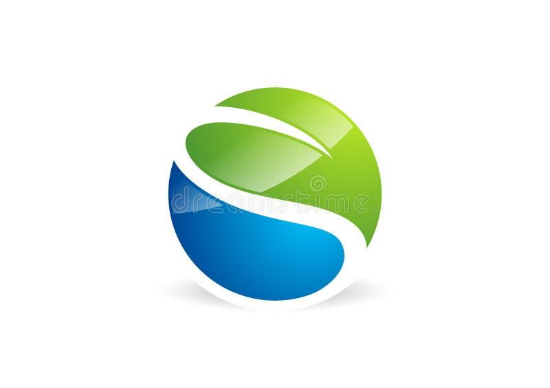 Waterdrop, hoja, logotipo, círculo, planta, primavera, símbolo del paisaje de la naturaleza, naturaleza global, icono de la letra stock de ilustración