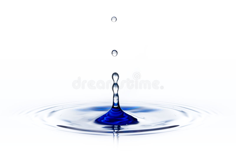 Waterdrop isolated on white. Blue tone stock image