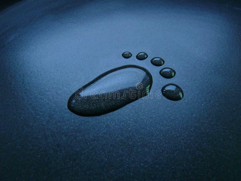 waterdrops d'empreintes de pas images stock