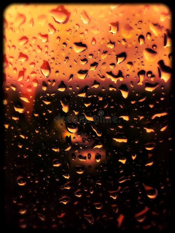 Waterdrops on a window. stock photo