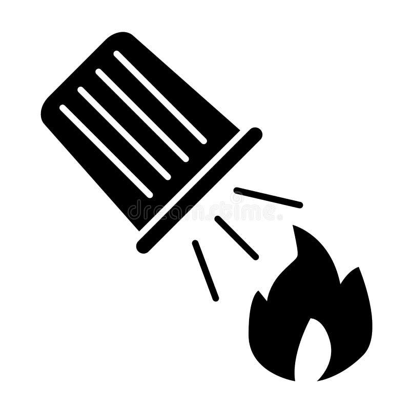 Wateremmer die een brand stevig pictogram doven Brand en emmer met zand vectordieillustratie op wit wordt geïsoleerd Vlam en royalty-vrije illustratie
