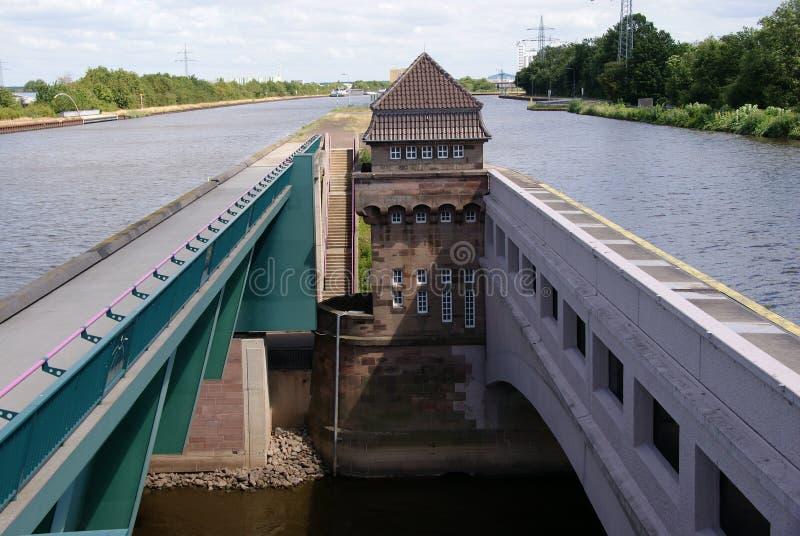 Wateren die in Weser dichtbij Minden kruisen royalty-vrije stock foto's