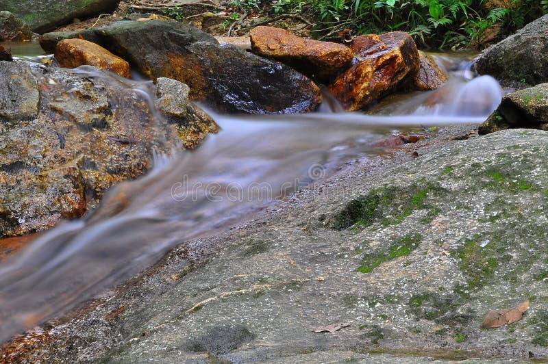 Waterfal bajo con la exposición larga del agua tranquila foto de archivo