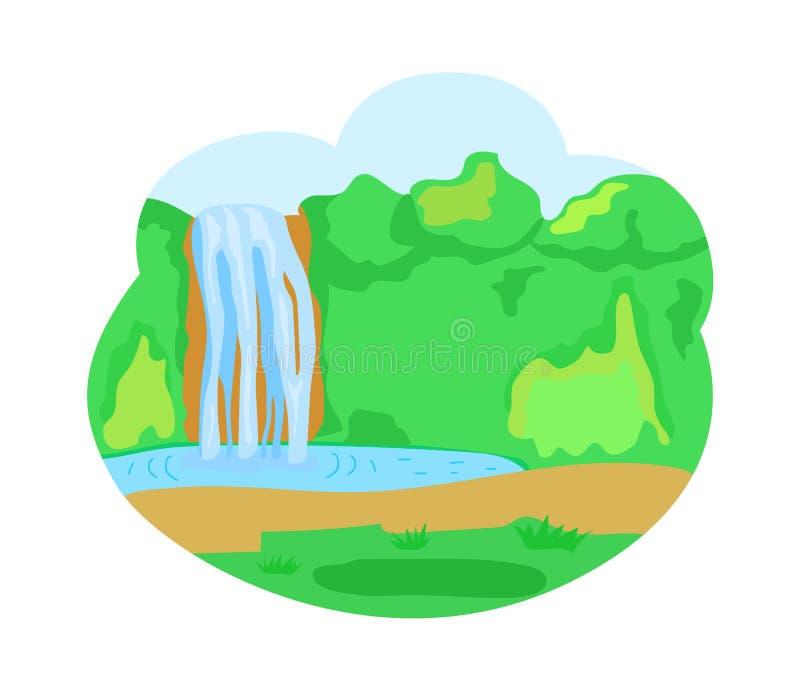 Waterfall湖、自然与绿叶和树 向量例证