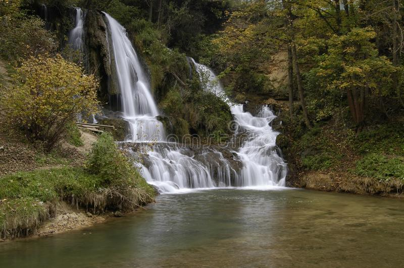 Waterfall. In the middle of the village in central Slovakia Lucky royalty free stock photos