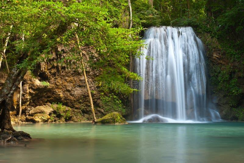 Waterfall. In tropical forest at Eravan national park Kanchanaburi province Thailand royalty free stock photos