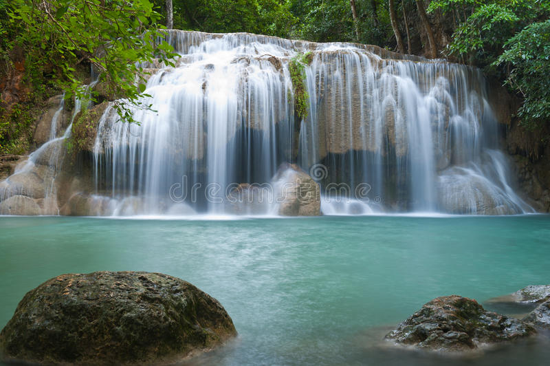 Waterfall. In tropical forest at Eravan national park Kanchanaburi province Thailand stock images