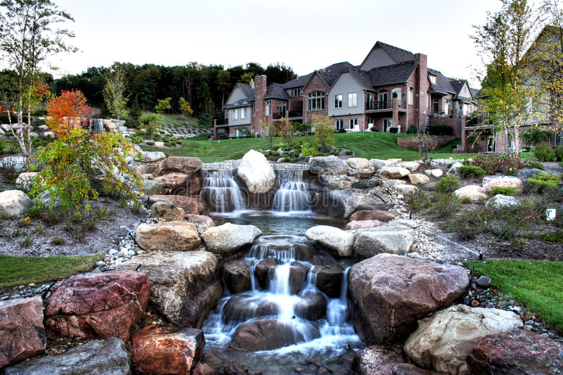 Download Waterfall stock photo. Image of nature, house, houses - 4552206