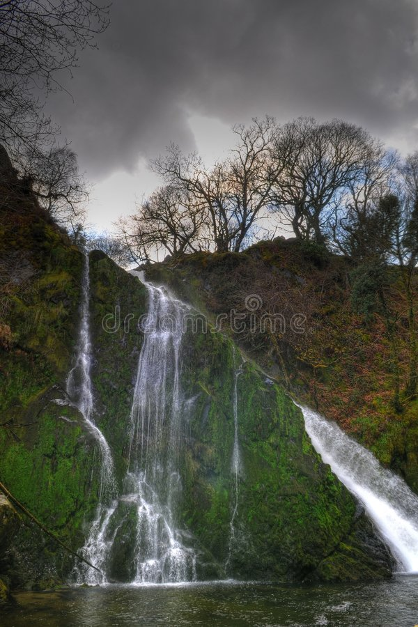 Waterfall. HDR picture of waterfall in Snowdonia park, Wales royalty free stock photo