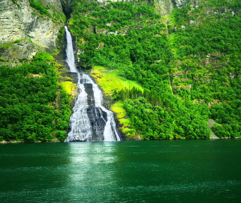 Download Waterfall stock image. Image of geiranger, waterfall, scenery - 5758535