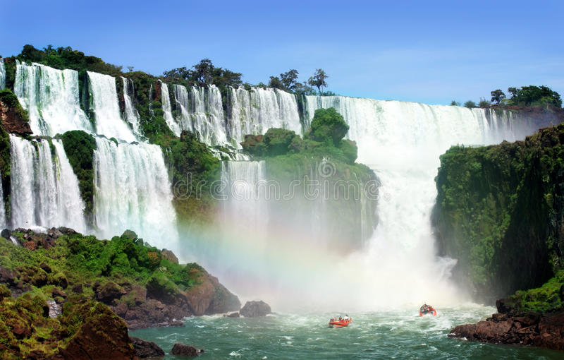 Waterfall. Iguazu Falls was short-listed as a candidate to be one of the New7Wonders of Nature by the New Seven Wonders of the World stock images