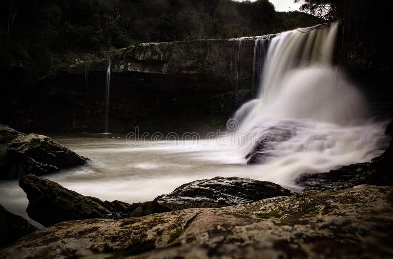 Waterfall of abandoned power plant royalty free stock photography