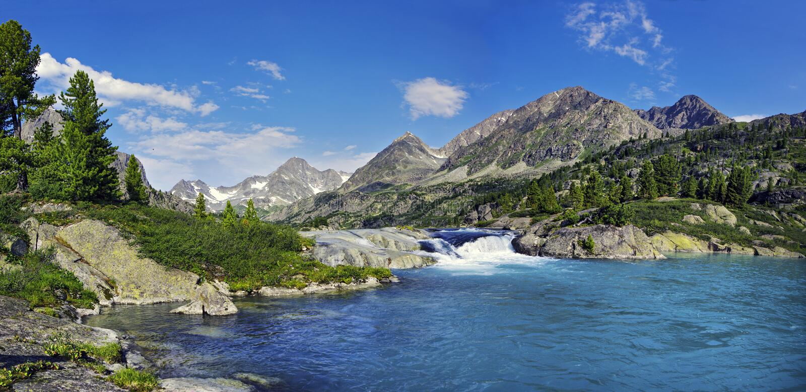 Waterfall in Altai royalty free stock images