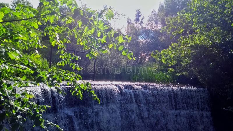 Waterfall amongst the trees stock photos