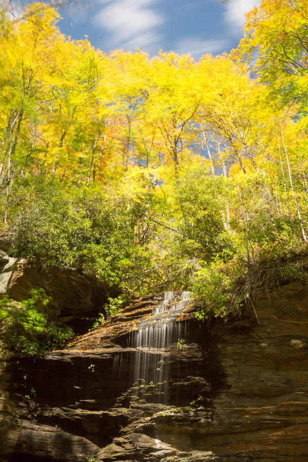 Waterfall in the Appalachians. A view of Slick Rock Falls in the Appalachians of western North Carolina stock image